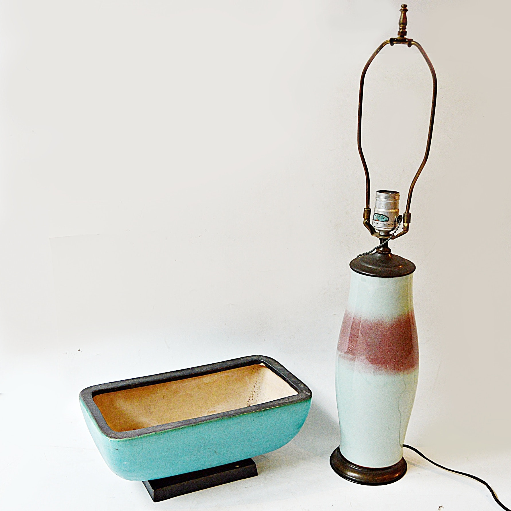 1970s Ceramic Table Lamp and Vintage Pottery Planter