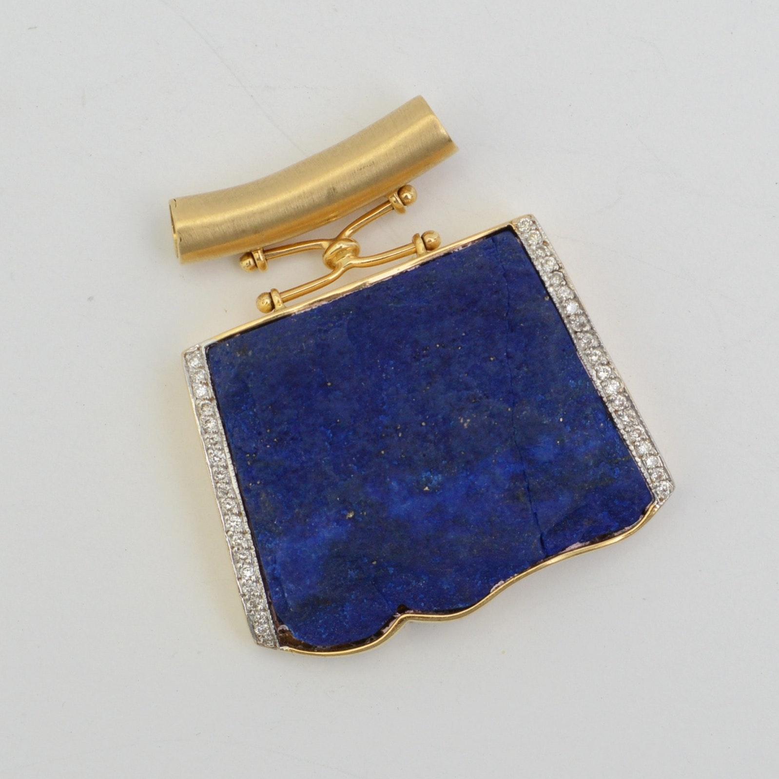 18K Yellow Gold Diamond and Lapis Pendant