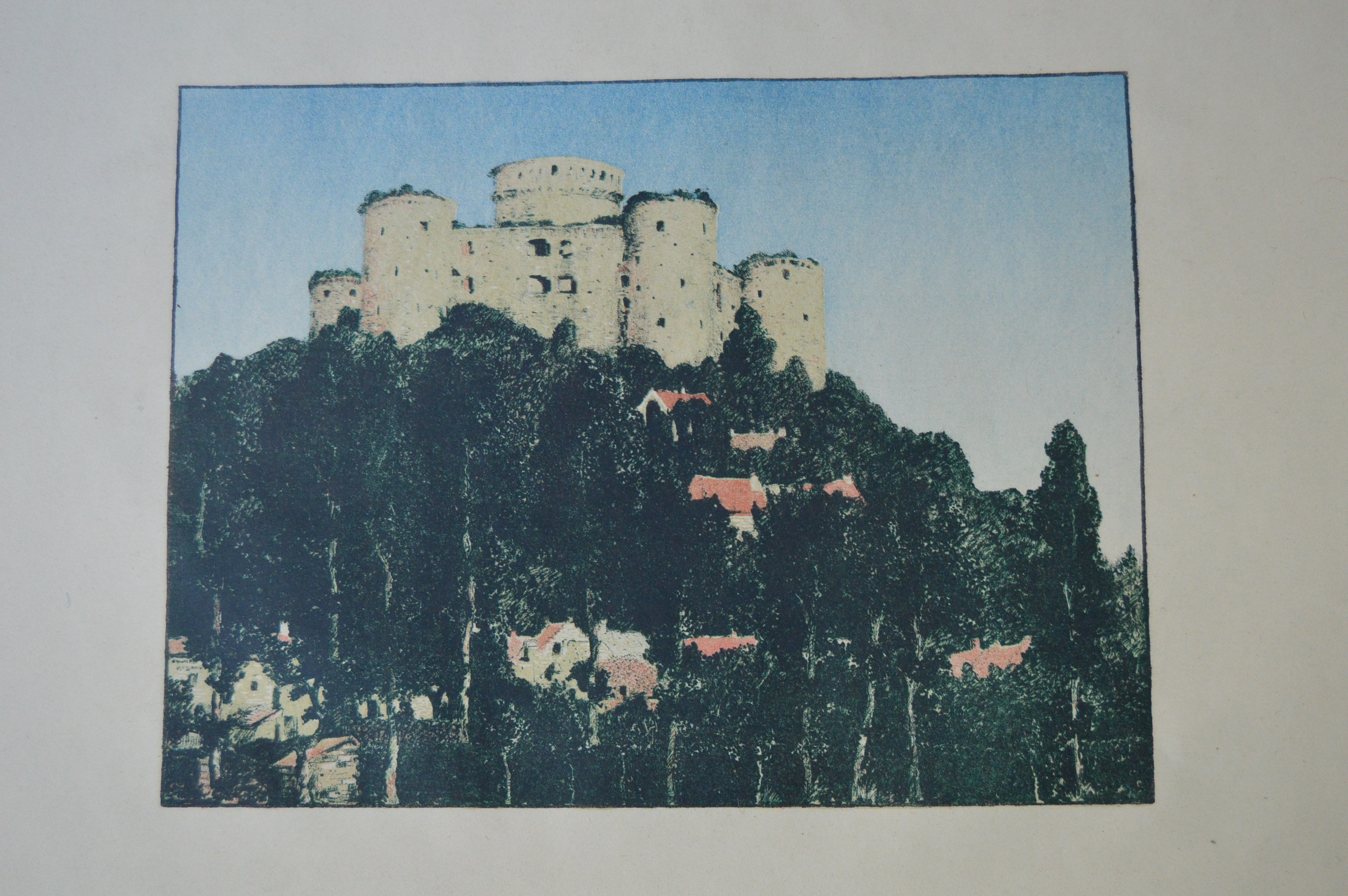 James Hopkins 1910 Lithographic Print of a Castle