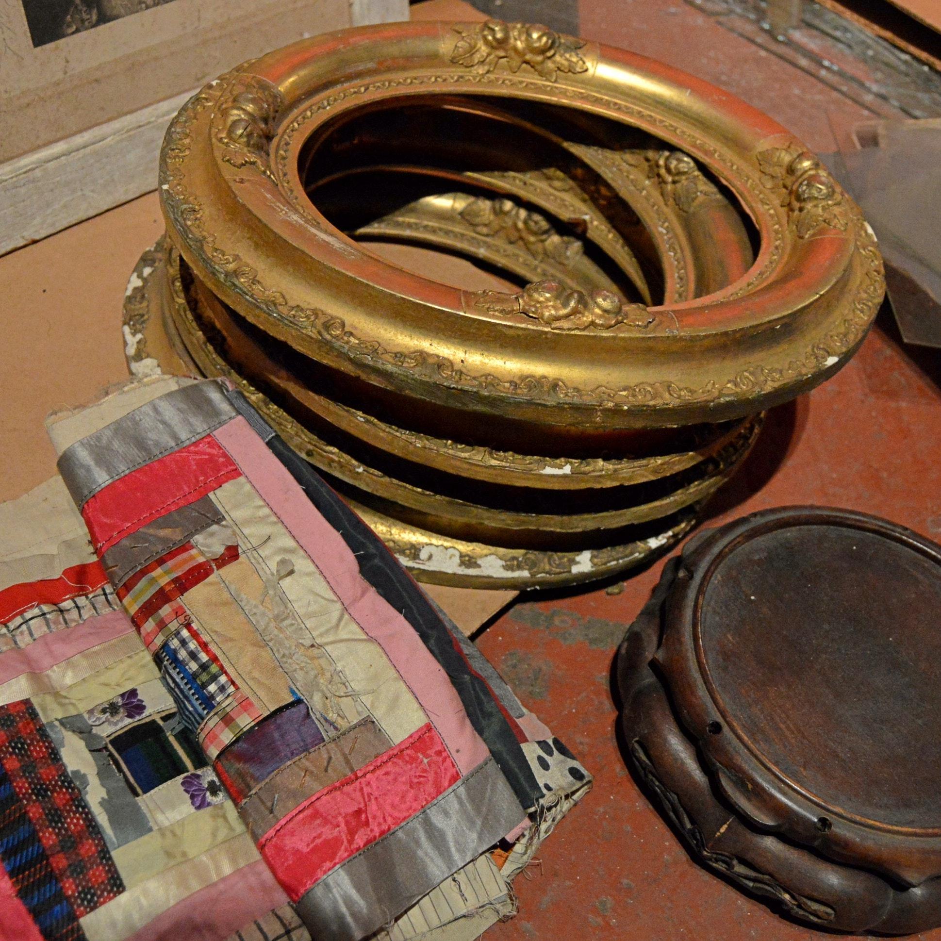 Antique Oval Gilt Gesso Frames, Crazy Quilt Runner, Chinese Wood Pedestal