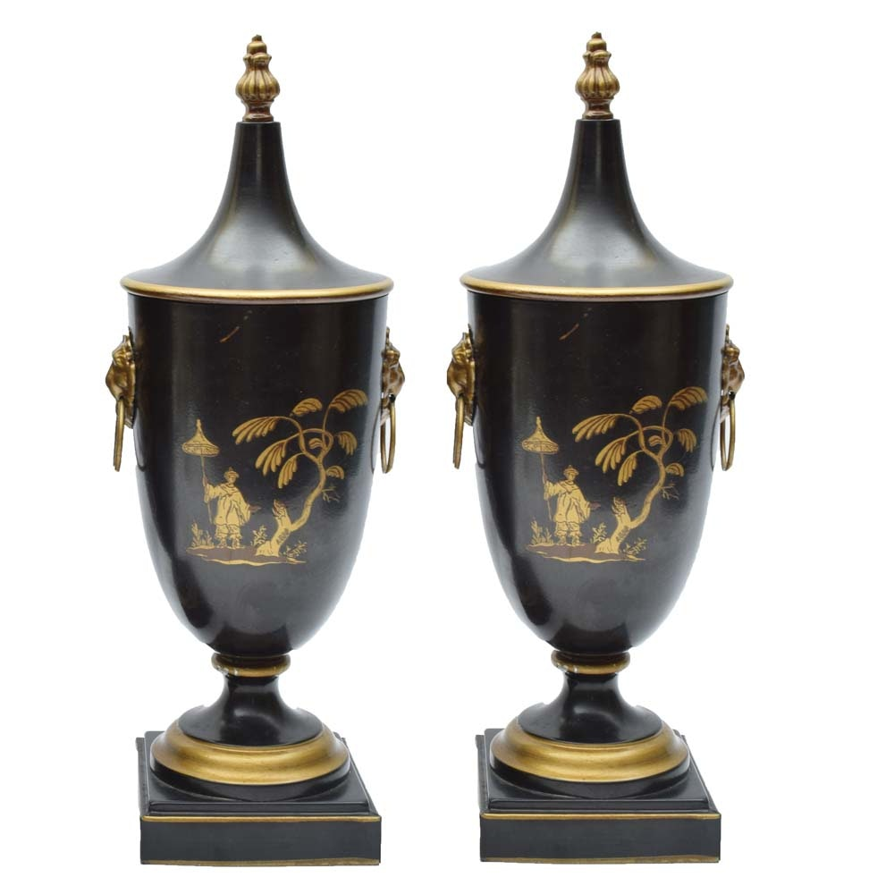 Chinoserie Toleware Lidded Urns