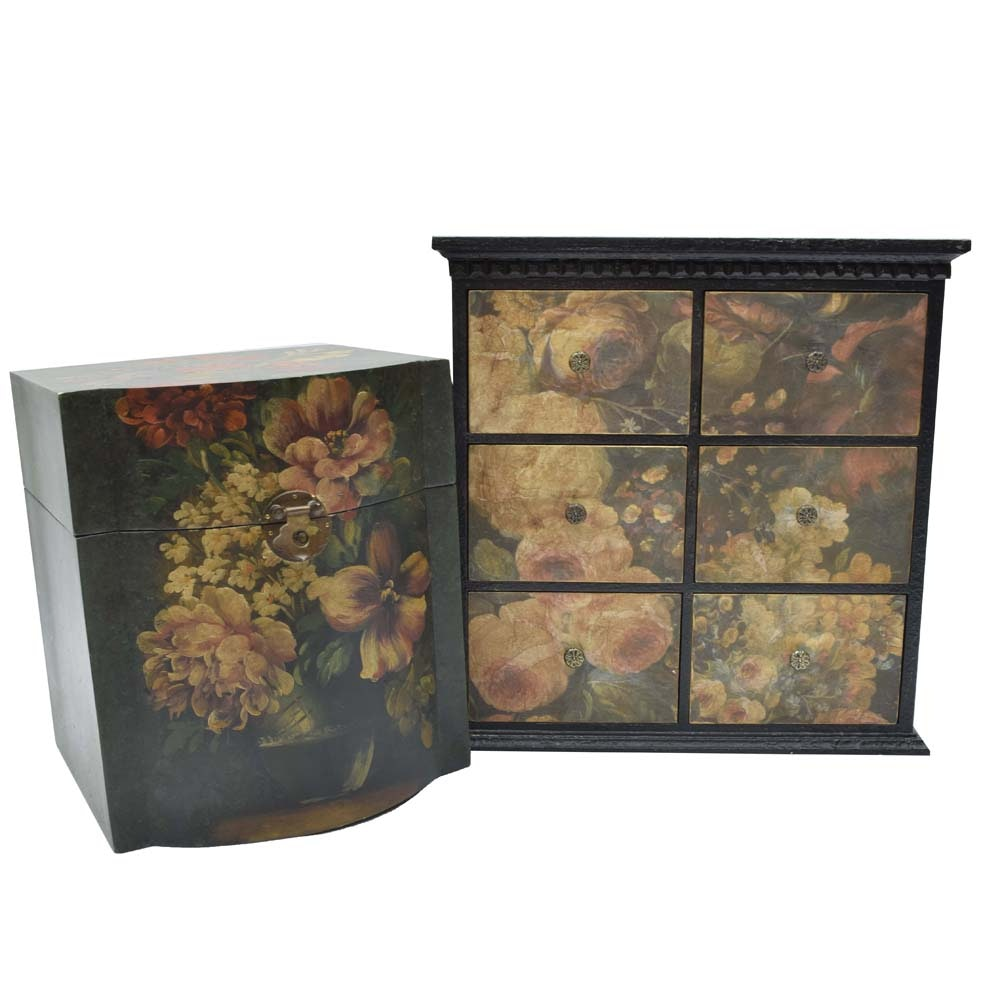 Wooden Floral Design Trinket Boxes