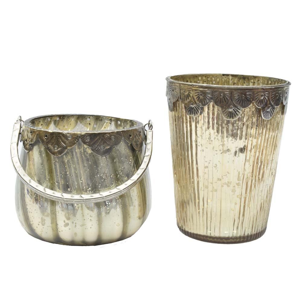 Silver Tone Rimmed Mercury Glass Vases