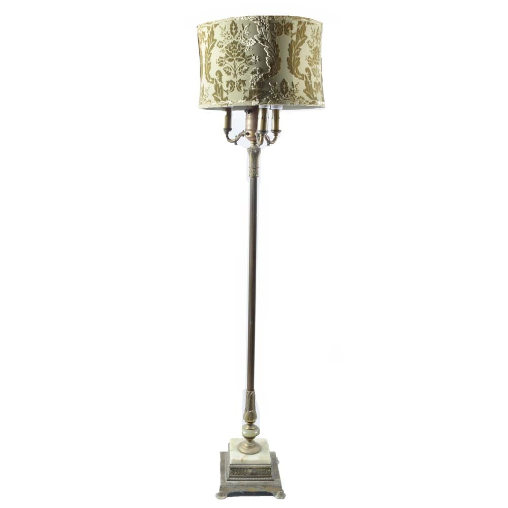 Vintage Brass and Marble Floor Lamp