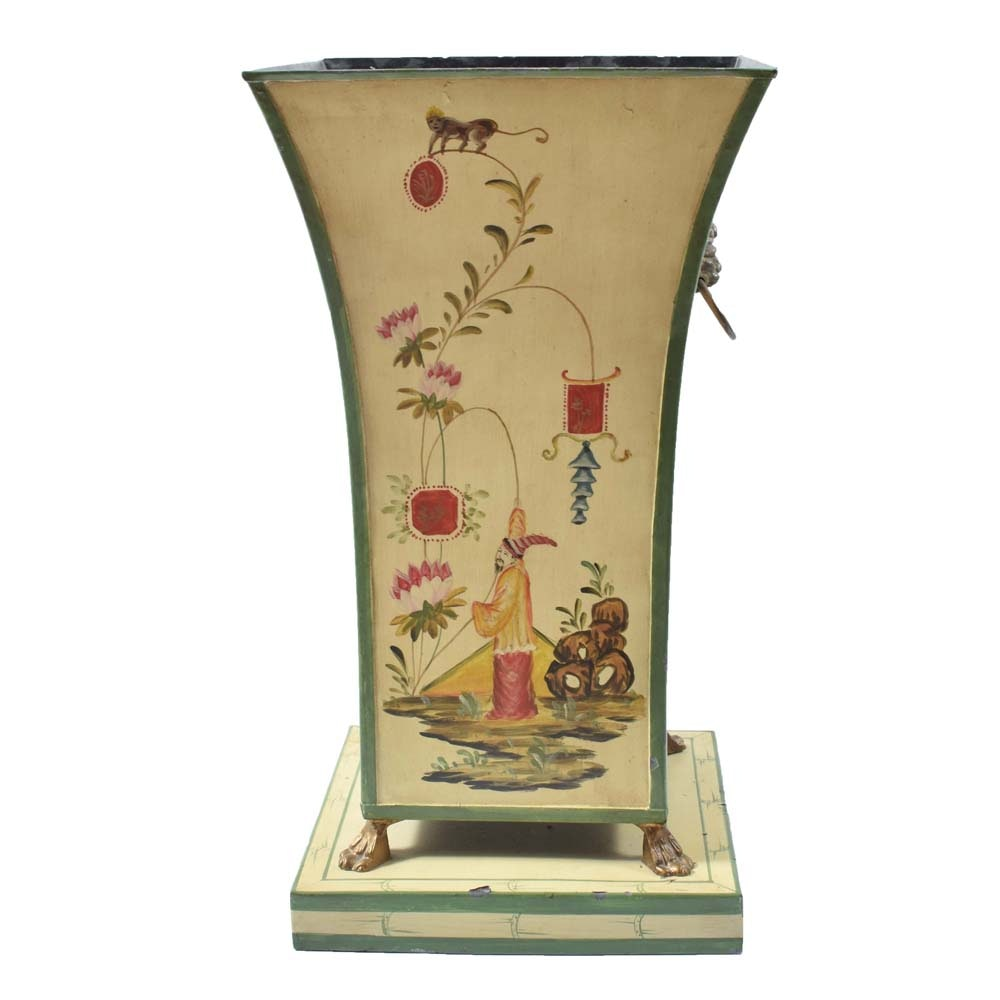 Large Hand-Painted Chinoiserie Tole Cache Pot