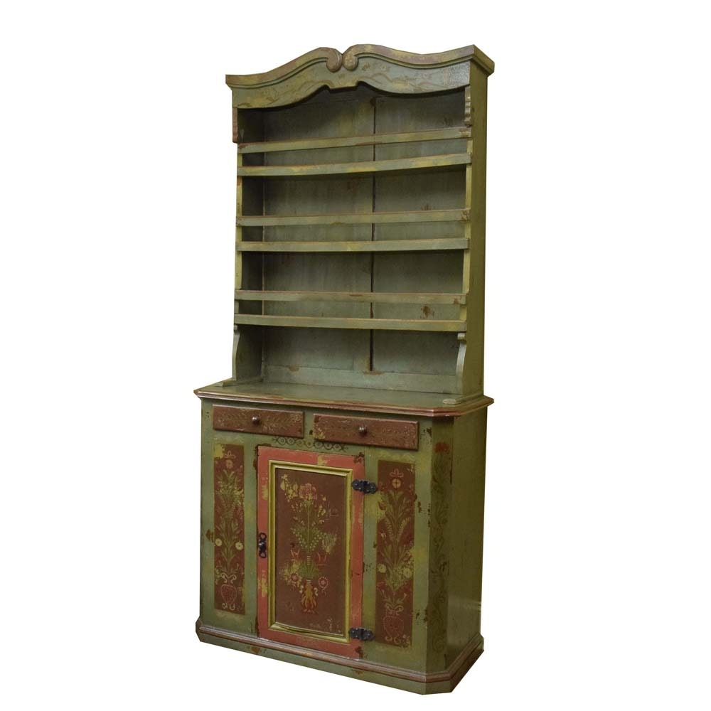 Tall Vintage Polychrome China Cupboard