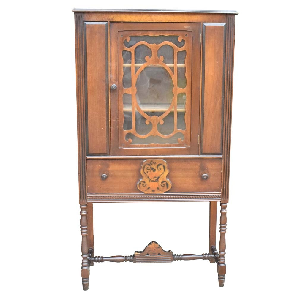 Vintage Jacobean Style China Cabinet