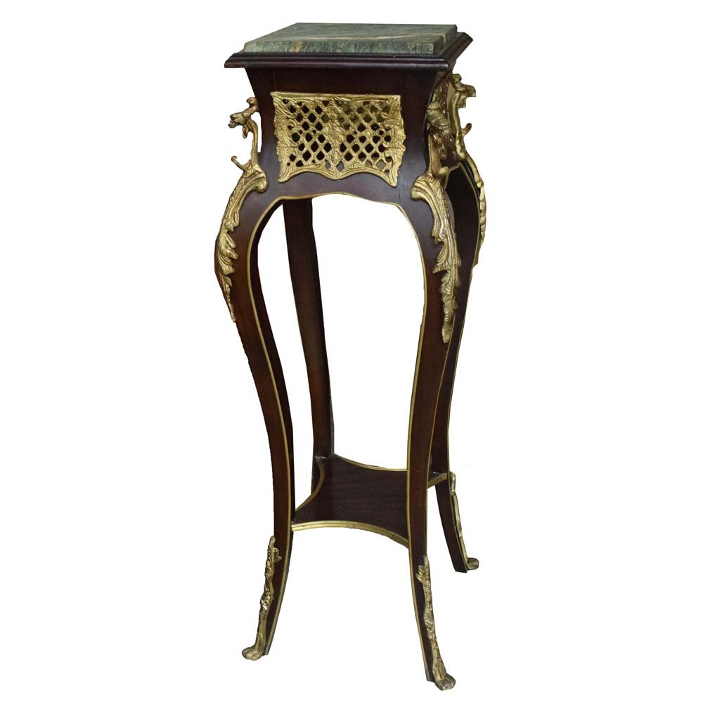 Marble Top Asian Inspired Cherry and Brass Fern Stand