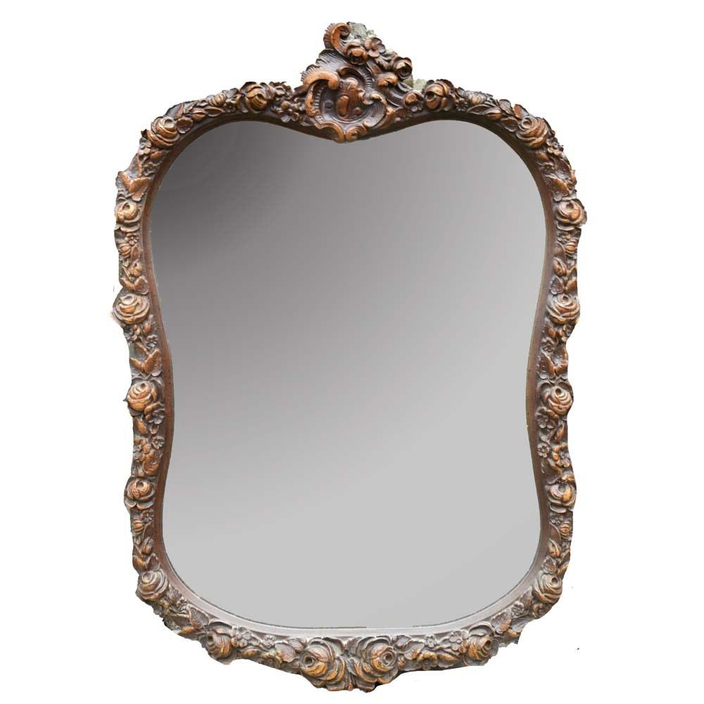 Vintage Wooden Wall Mirror