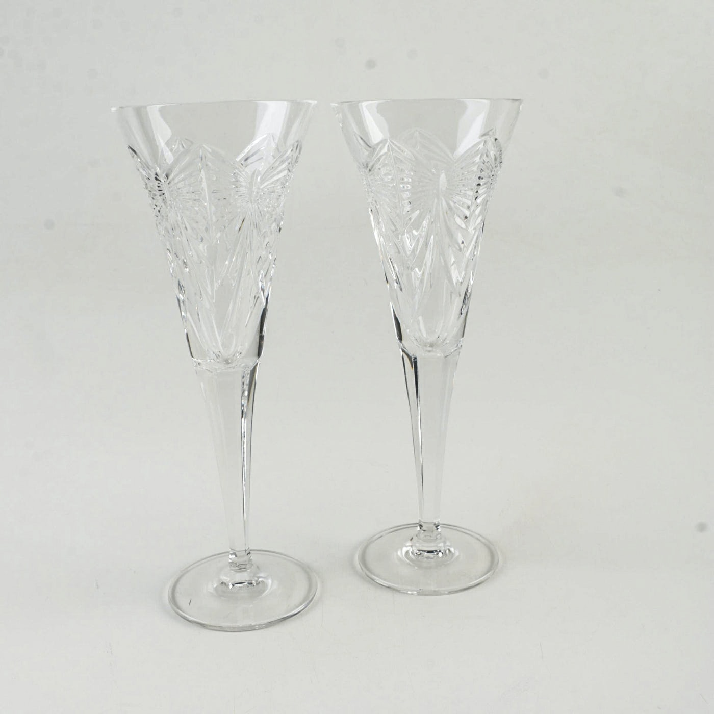 """Waterford Crystal """"Millennium Collection: Happiness"""" Champagne Toasting Flutes"""
