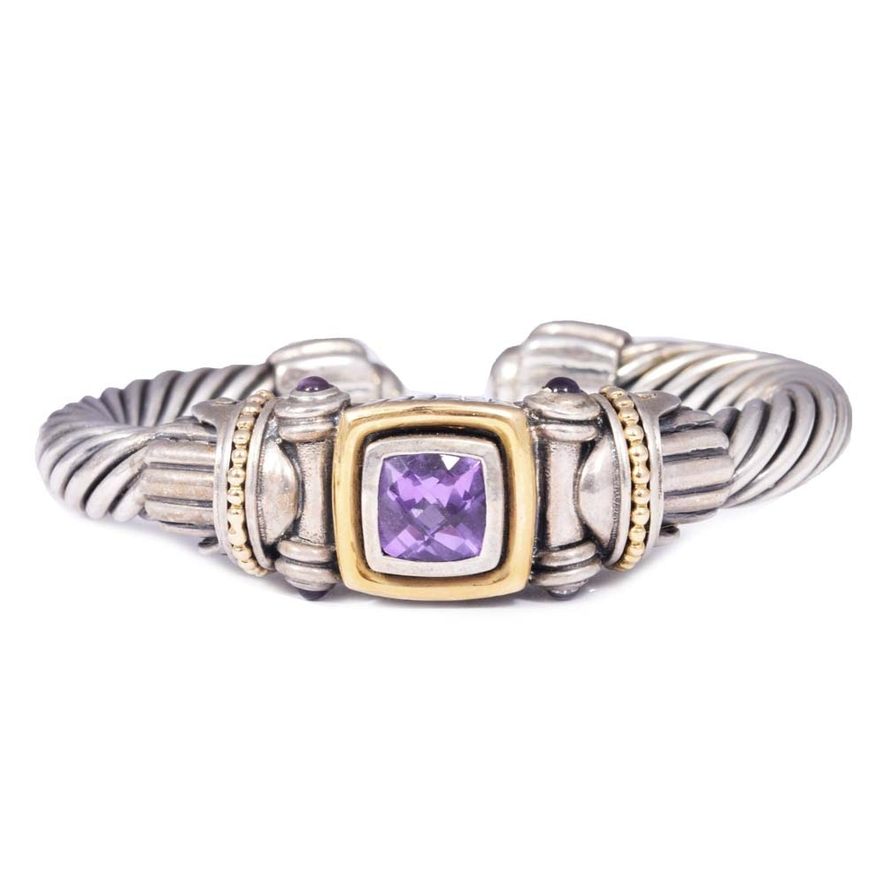 Samuel Benham Sterling and 3.13 CTW Amethyst Wide Cable Cuff Bracelet