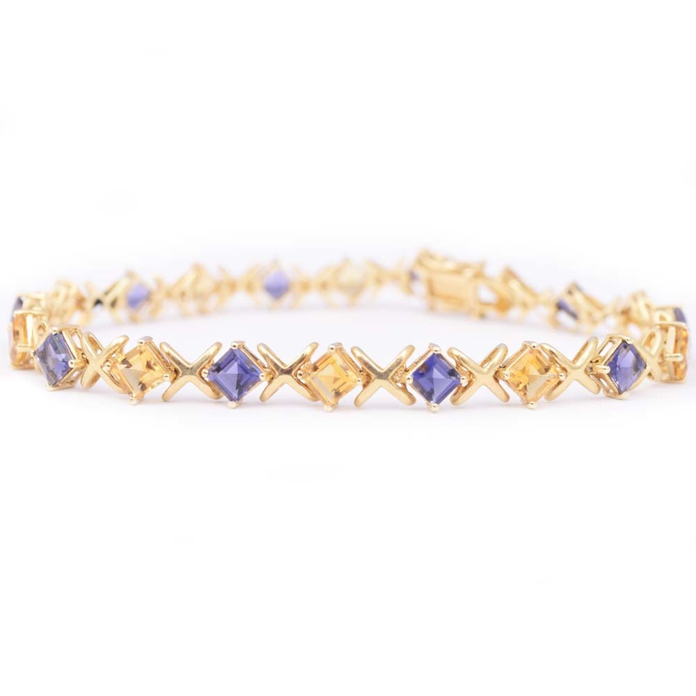 14K Yellow Gold 3.20 CTW Amethyst and 3.20 CTW Citrine Bracelet