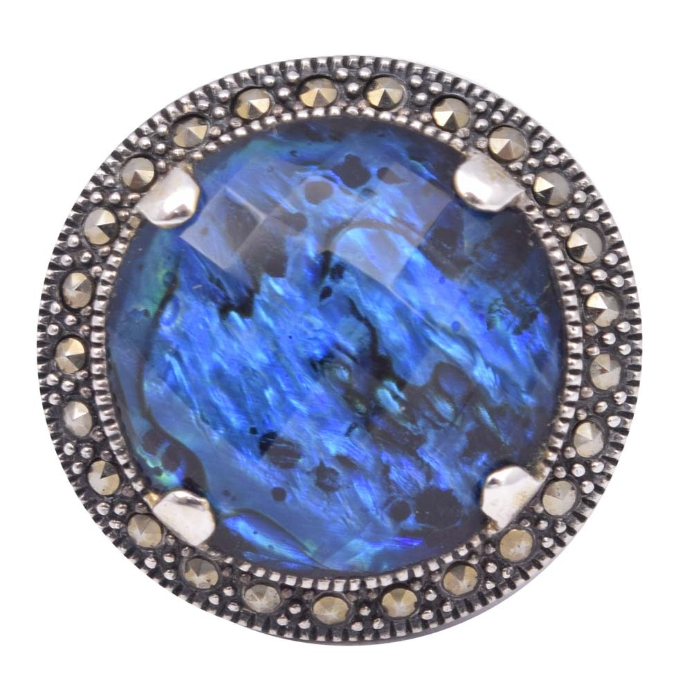 Sterling Silver Blue Quartz Over Abalone and Marcasite Ring
