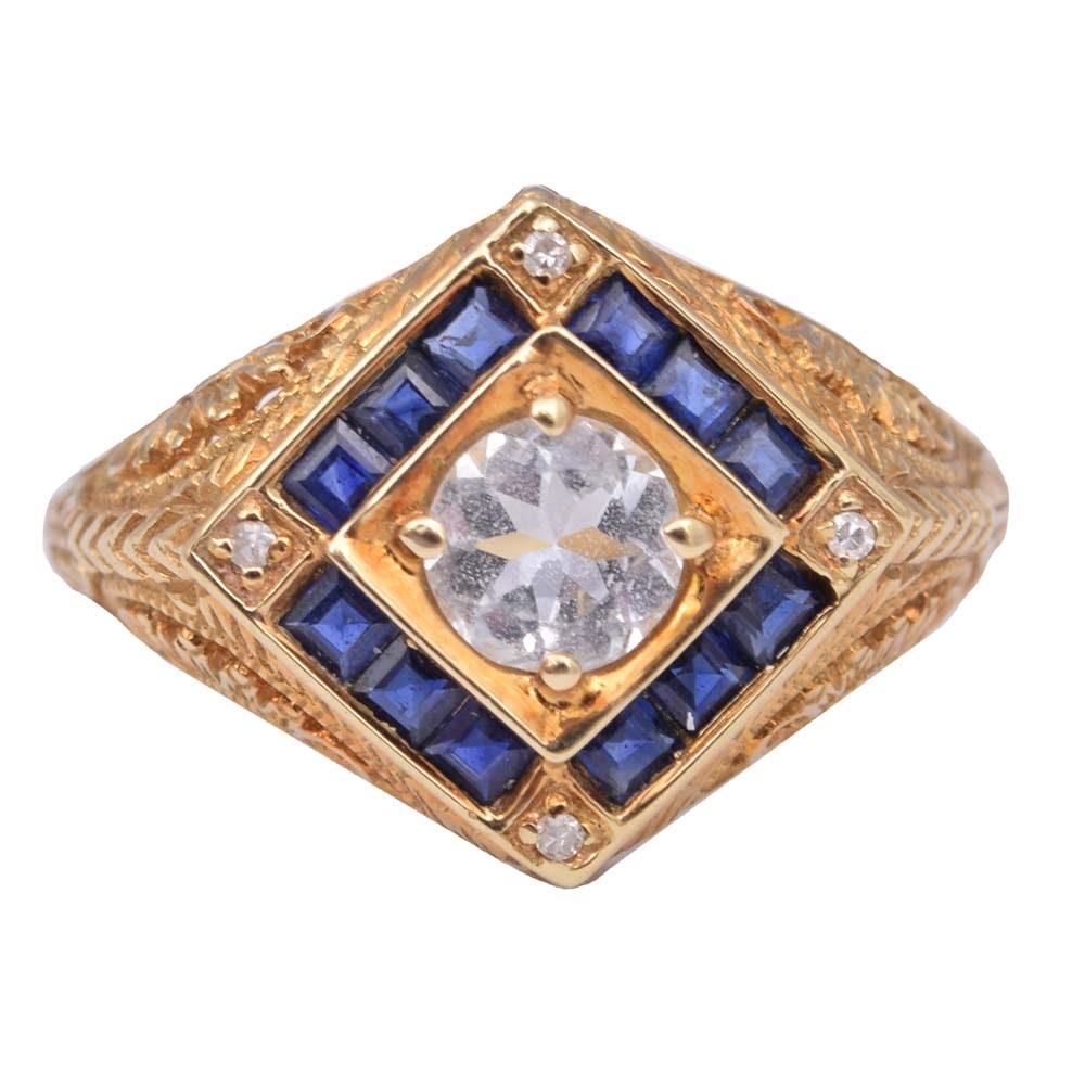 14K Yellow Gold Cubic Zirconia, Diamond and Sapphire Filigree Ring
