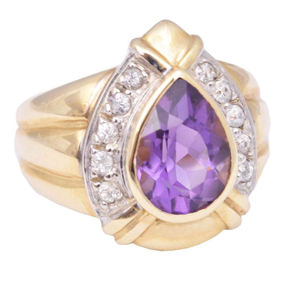 14K Yellow Gold 1.65 CT Amethyst and White Topaz Ring