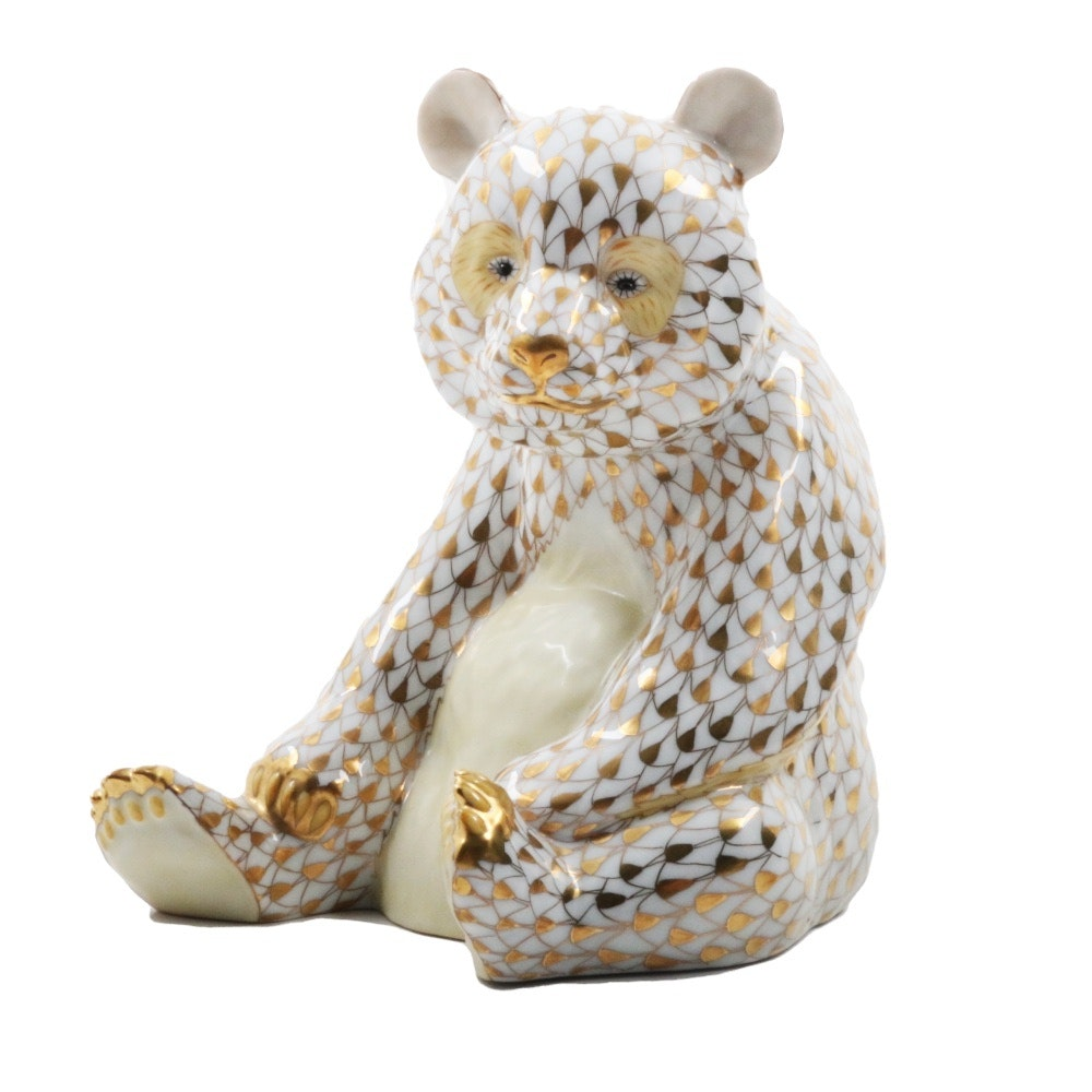 Herend Gold and White Seated Bear, Limited Edition