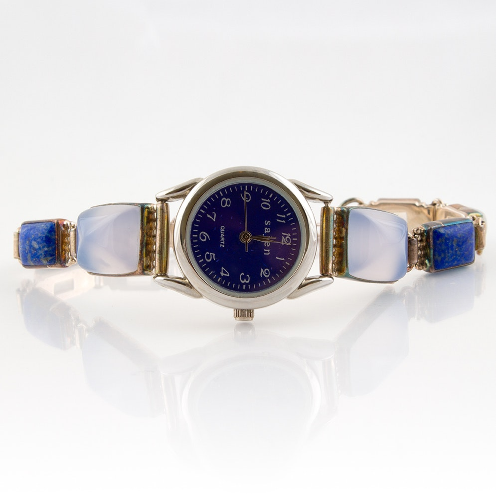 Sajen Wristwatch with Sterling, Chalcedony, Lapis and Moonstone Bracelet