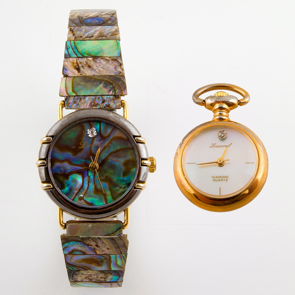 Abalone and Diamond Wristwatch with Mother of Pearl Diamond Pendant Watch
