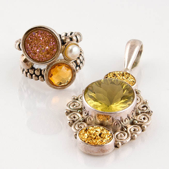 Sajen Sterling Ring and Pendant Featuring Citrine, Quartz and Praseolite