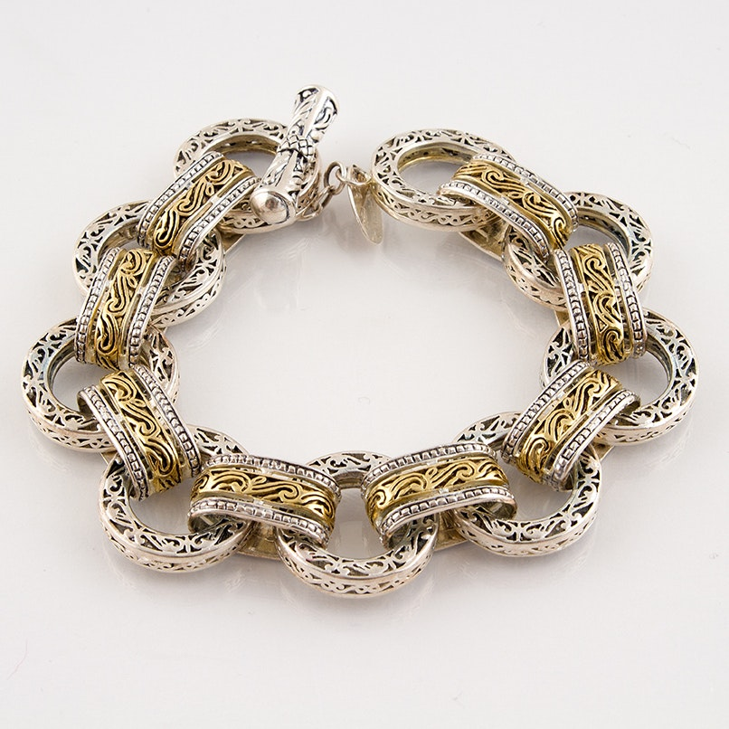 Sterling Silver Link Bracelet with Toggle Clasp