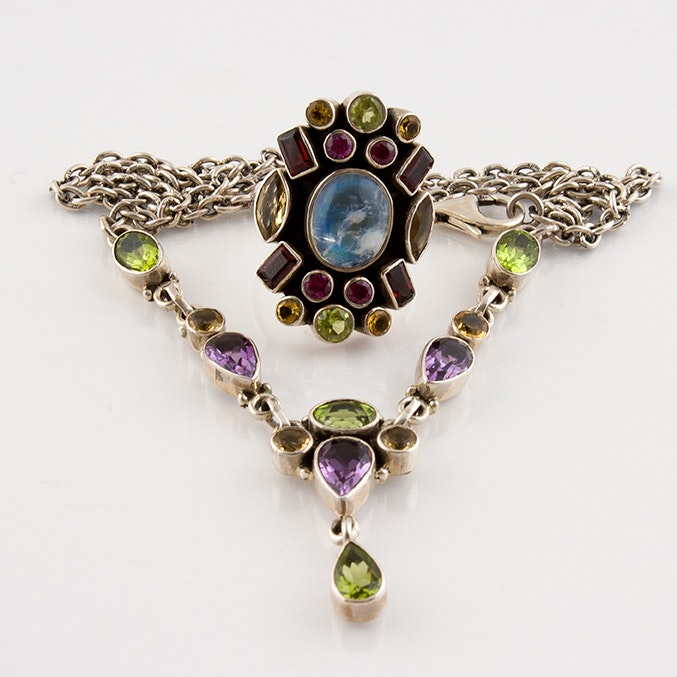 Nicky Butler Sterling Silver Multi-Stone Drop Necklace and Ring