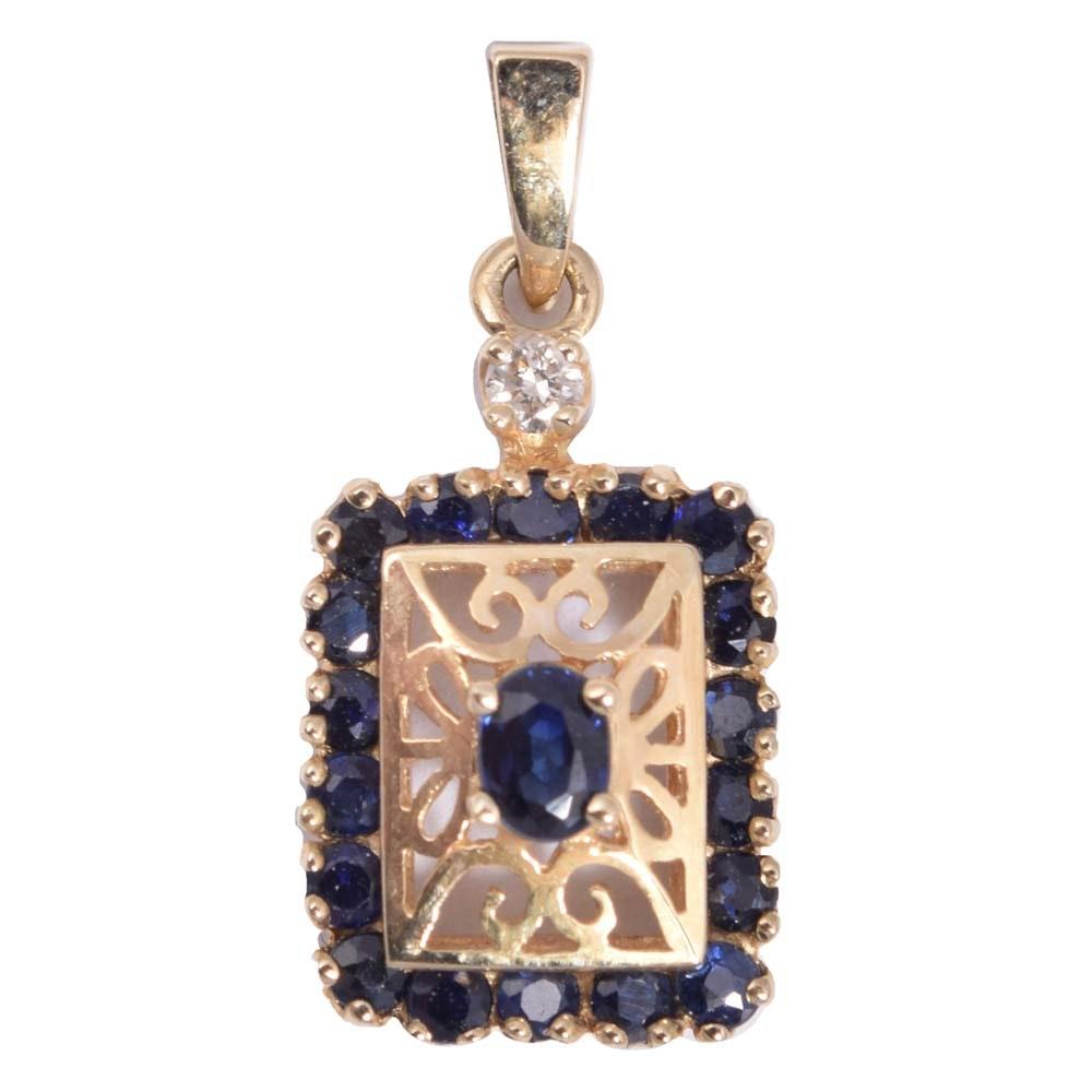 14K Yellow Gold 1.02 CTW Sapphire and Diamond Pendant