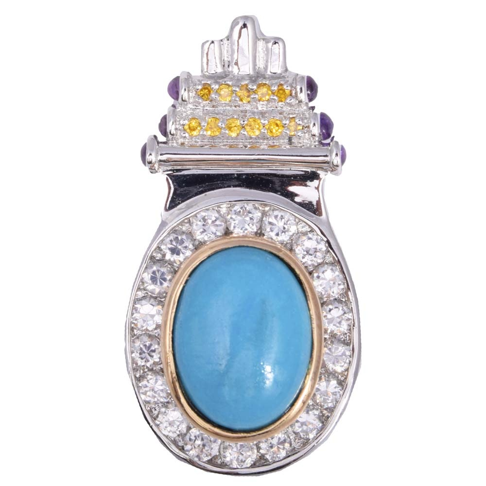 Sterling Simulated Turquoise, Cubic Zirconia and Amethyst Pendant