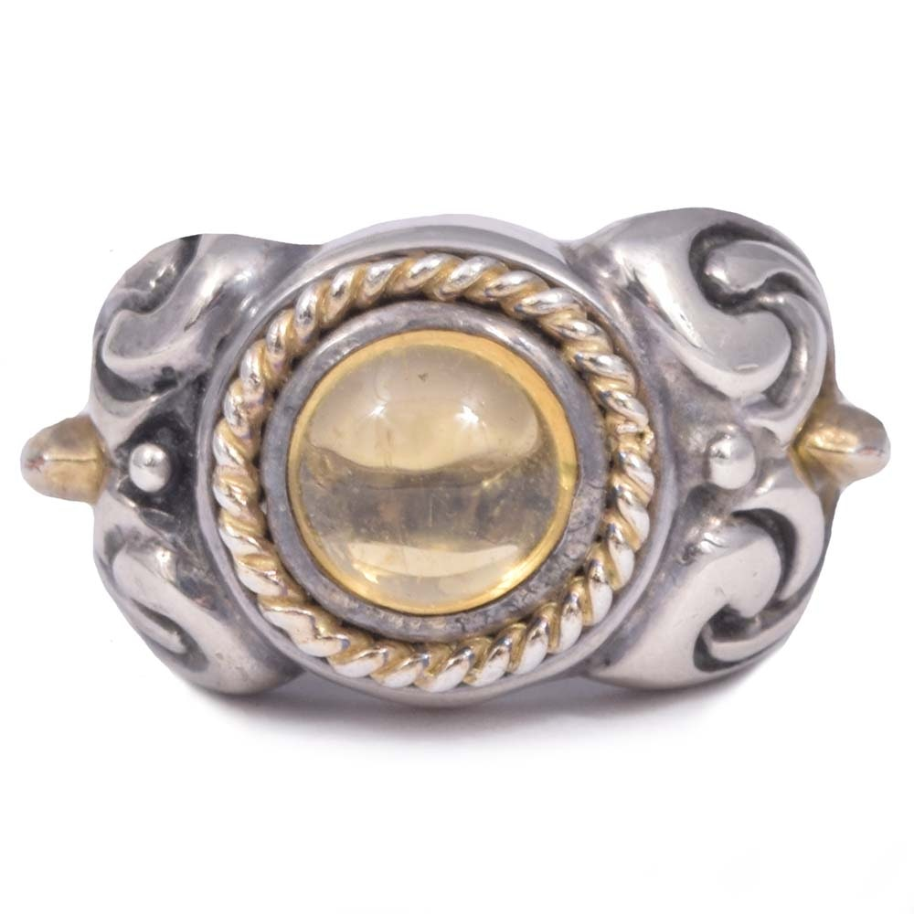 Flle Menegatti Sterling Silver 1.50 CT Citrine Ring with Gold Tone Accents