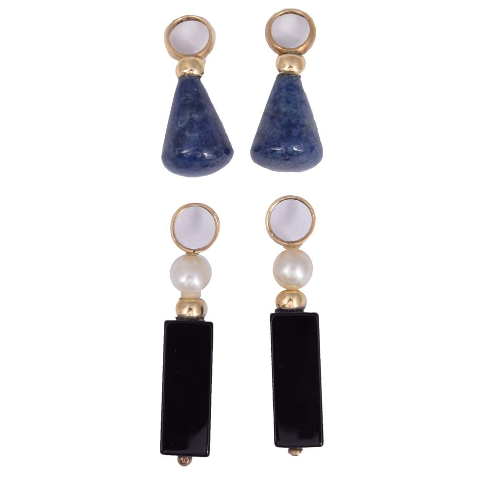 14K Yellow Gold Black Onyx and Pearl and Lapis Lazuli Earring Charms