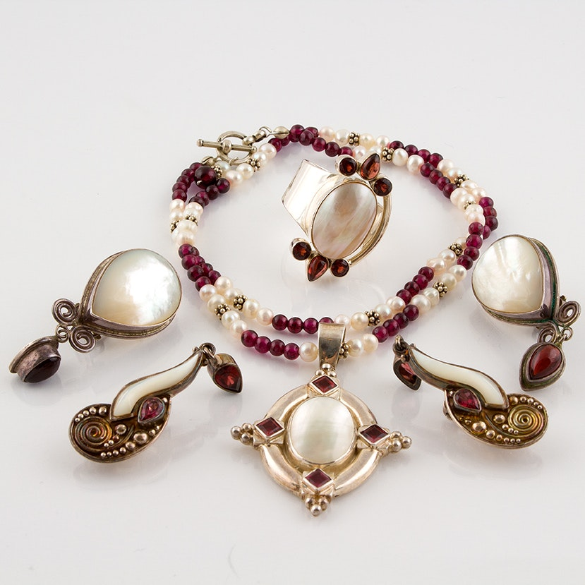 Sajen Sterling Silver Jewelry Featuring Shell and Garnet
