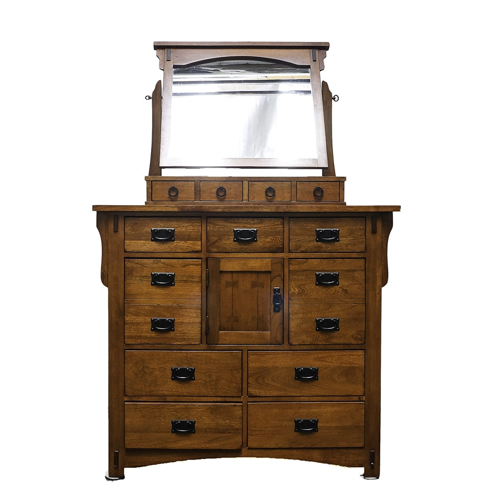 Arts and Crafts Style Dresser With Mirror