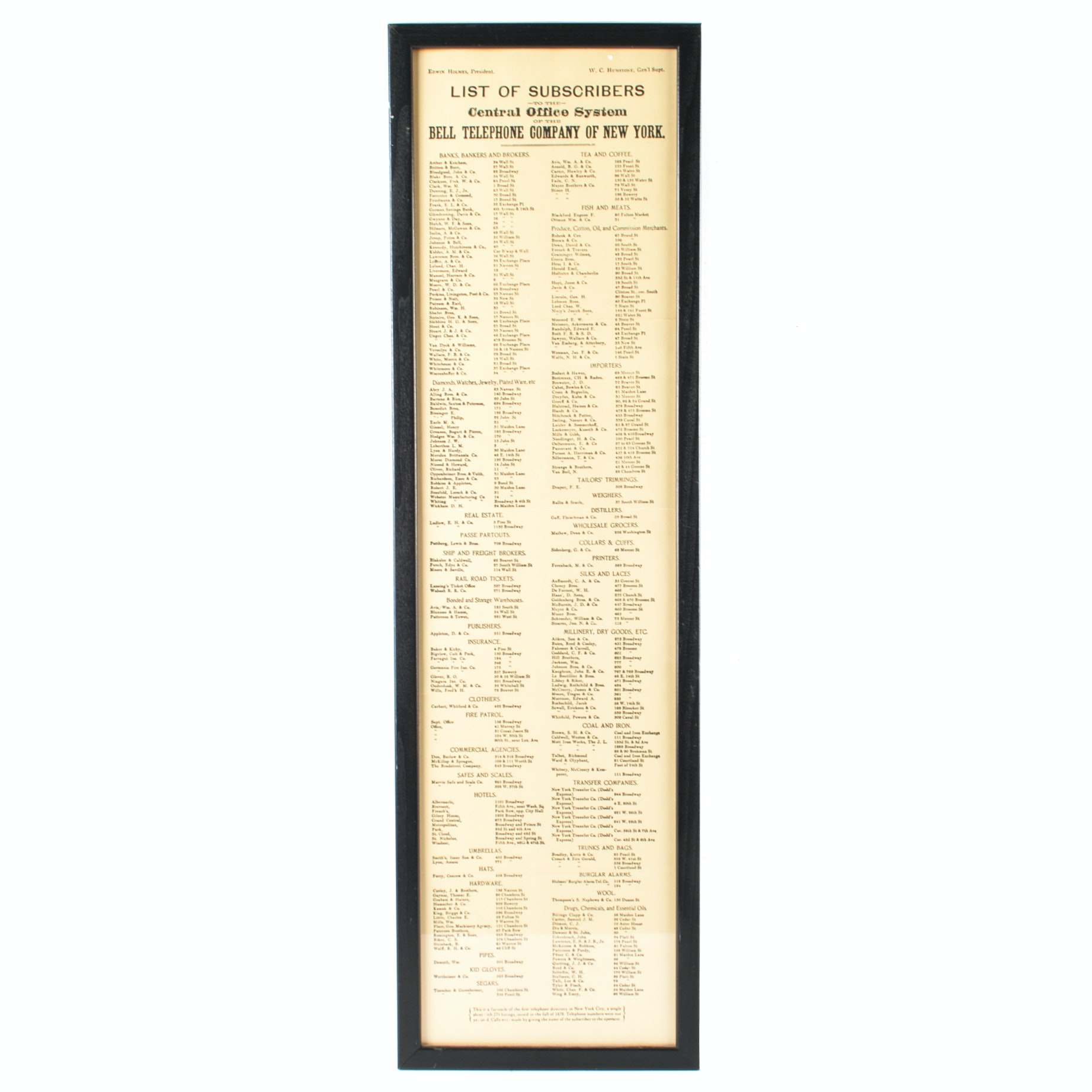 Framed Reproduction of Late 1800s New York City Telephone Directory