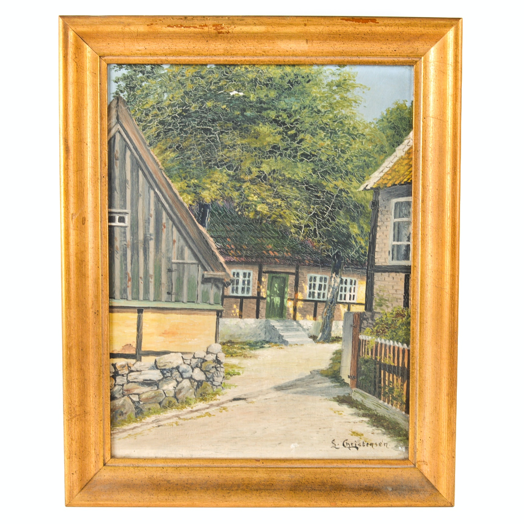 S. Christensen Oil on Canvas Painting of English Cottages
