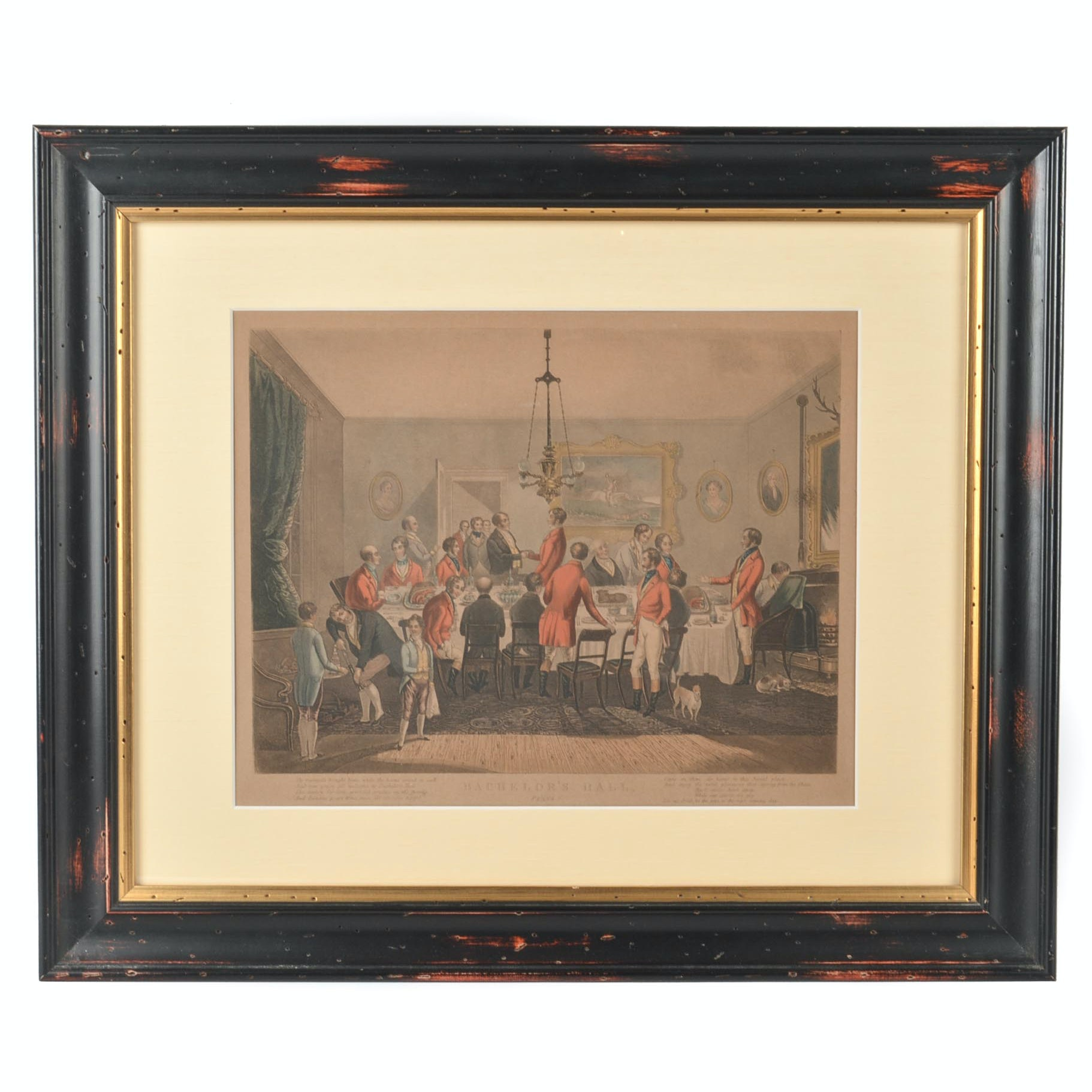 "Antique Hand Colored Stone Lithograph After Engraving ""Bachelor's Hall-Plate 6"""