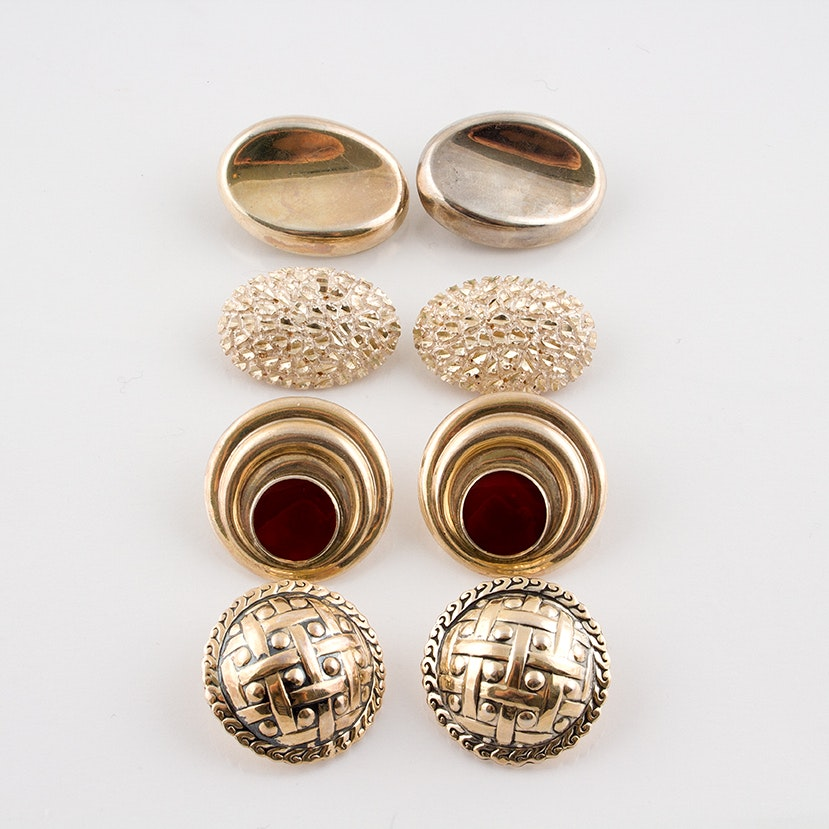 Sterling Silver Clip Earrings Featuring Carnelian