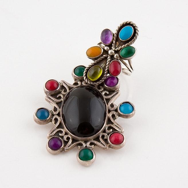 Vintage Sterling Brooch Pendant and Desert Rose Trading Ring