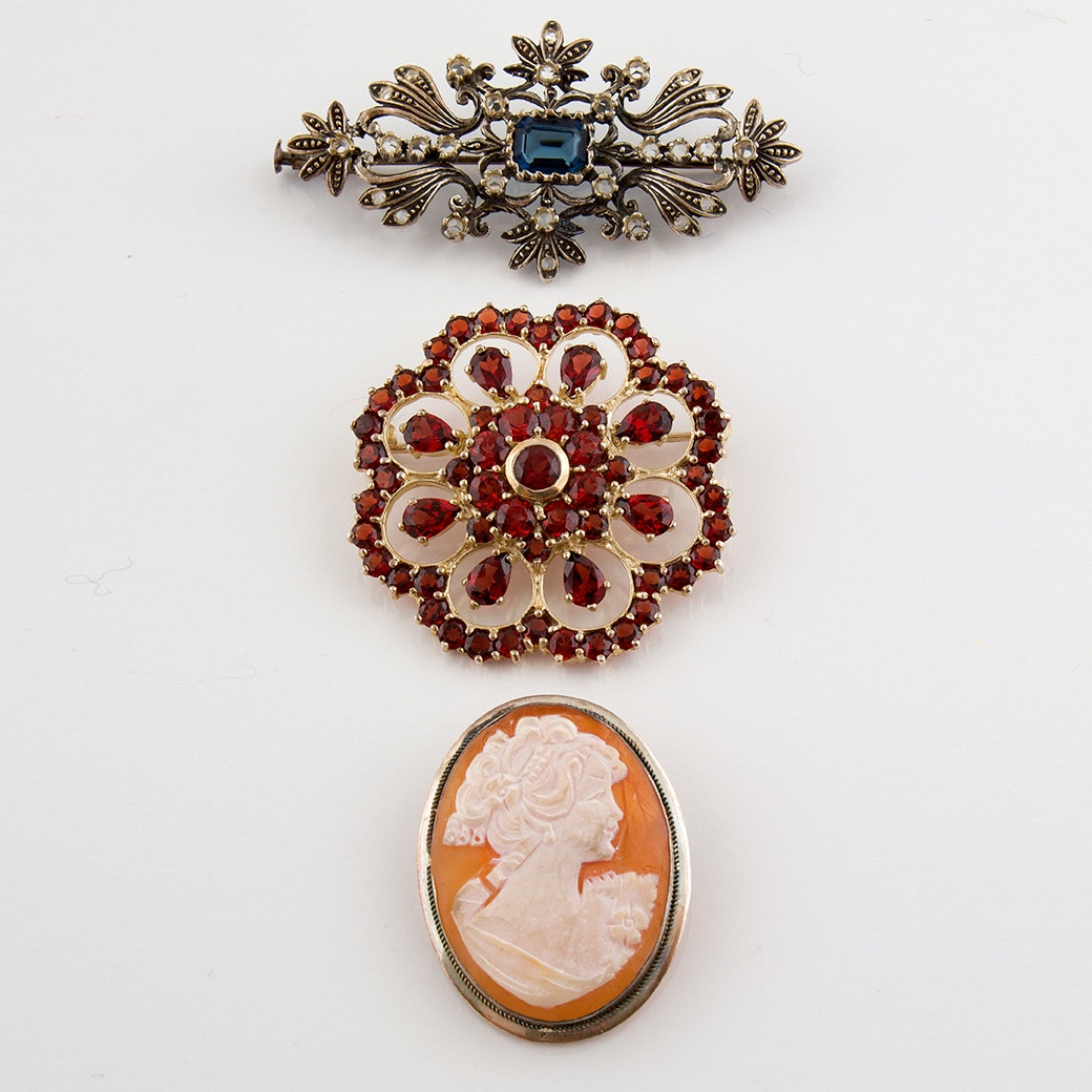 Sterling Silver Carved Shell Cameo Brooch and Sapphire and Garnet Brooches