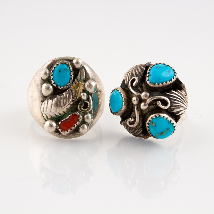 Sterling Silver, Turquoise and Coral Southwestern Style Rings
