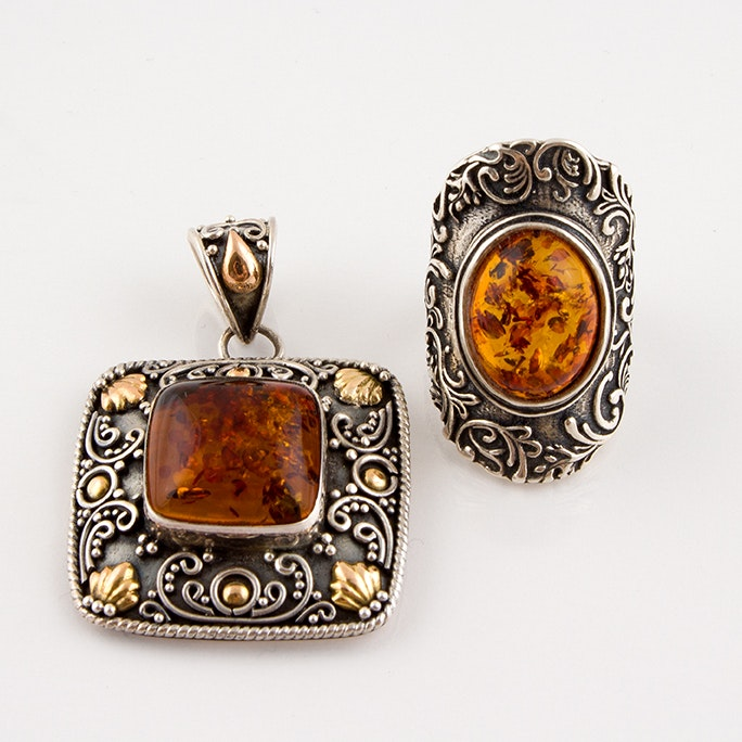Sterling Silver and Copal Victorian Style Pendant and Ring