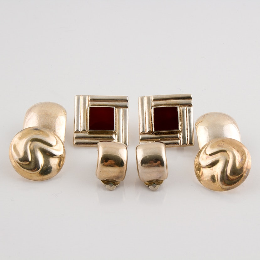 Sterling Silver Clip Earrings Featuring Carnelian Inlay