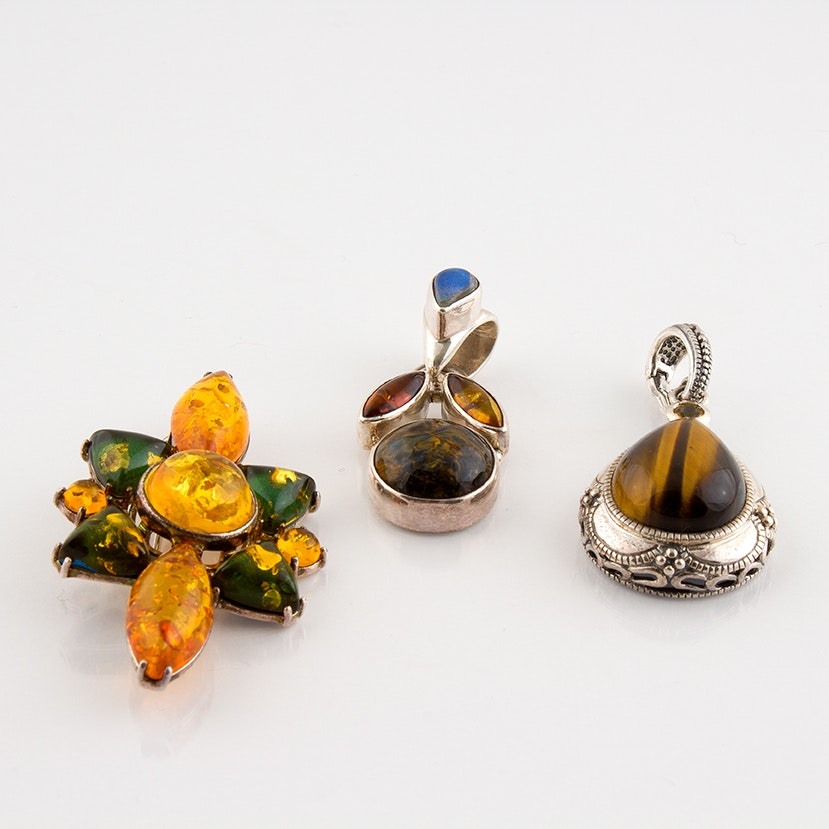 Sterling Brooch and Pendants Featuring Tiger's Eye, Labradorite and Amber