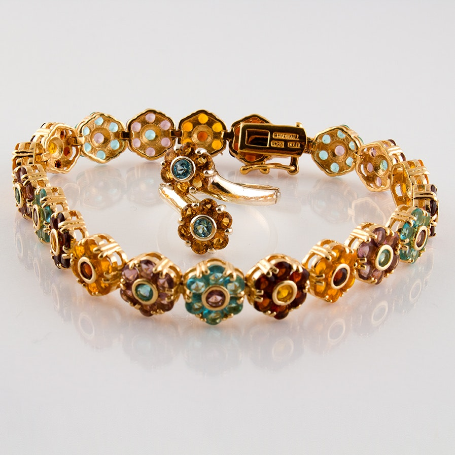 Sterling, Blue Topaz, Citrine and Cubic Zirconia Floral Bracelet and Ring