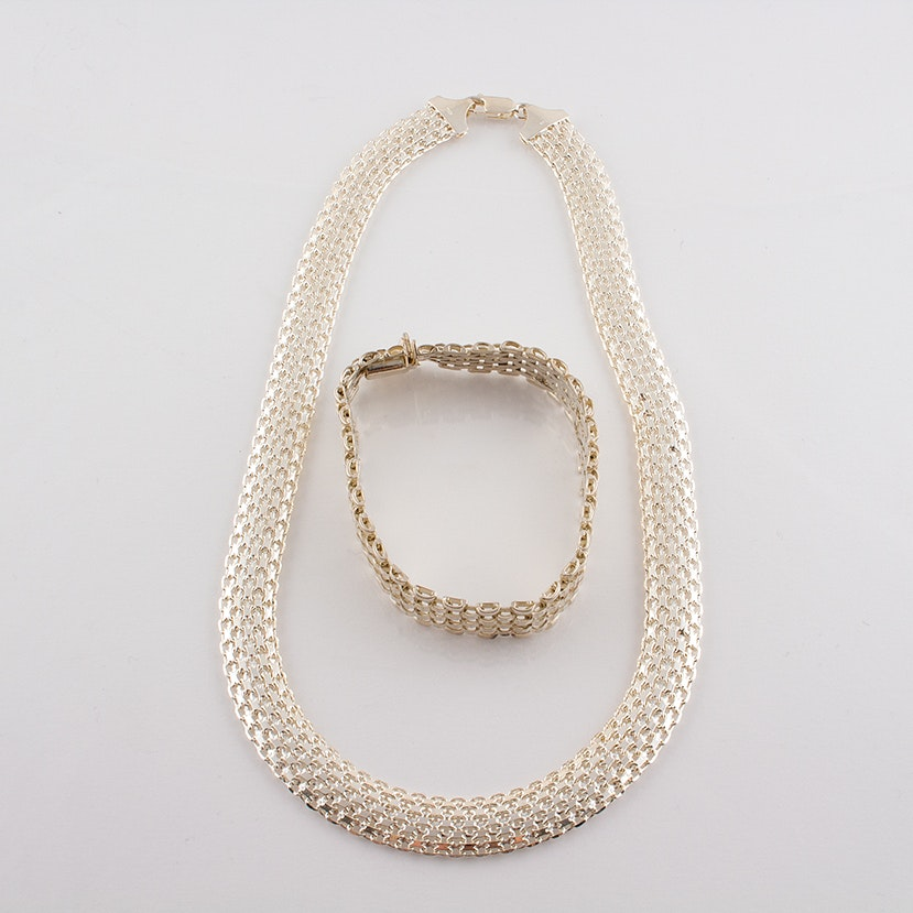 Sterling Silver Princess Necklace and Bracelet