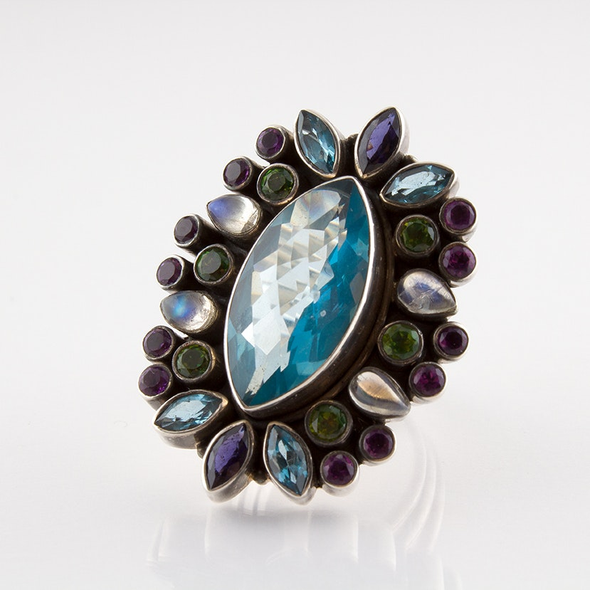 Nicky Butler Sterling Silver Limited Edition Navette Ring