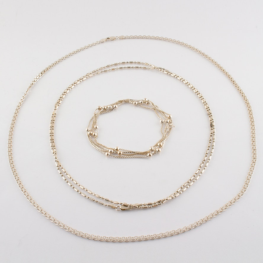 Sterling Silver Station and Chain Necklaces