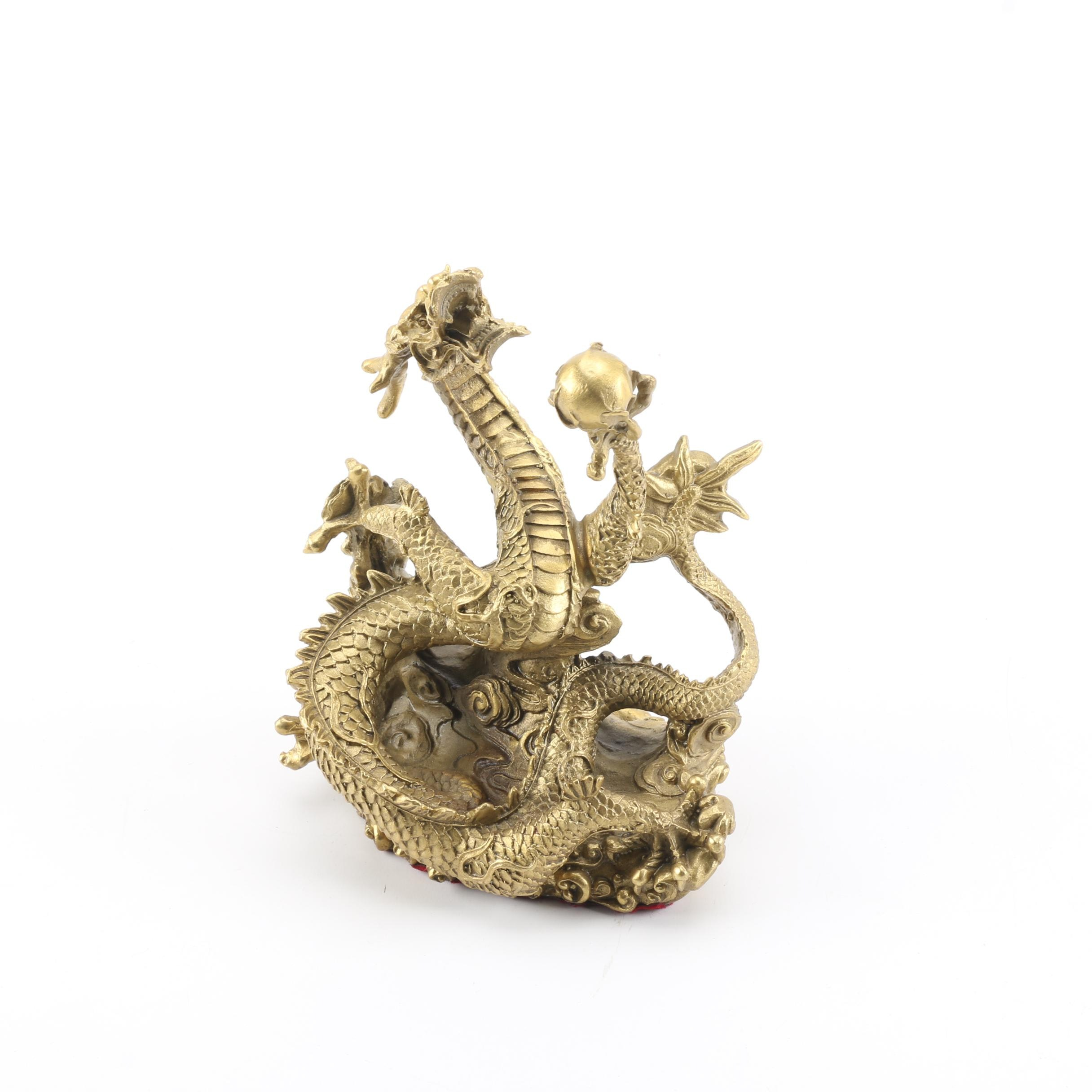 Chinese Brass Dragon Figurine Holding a Pearl