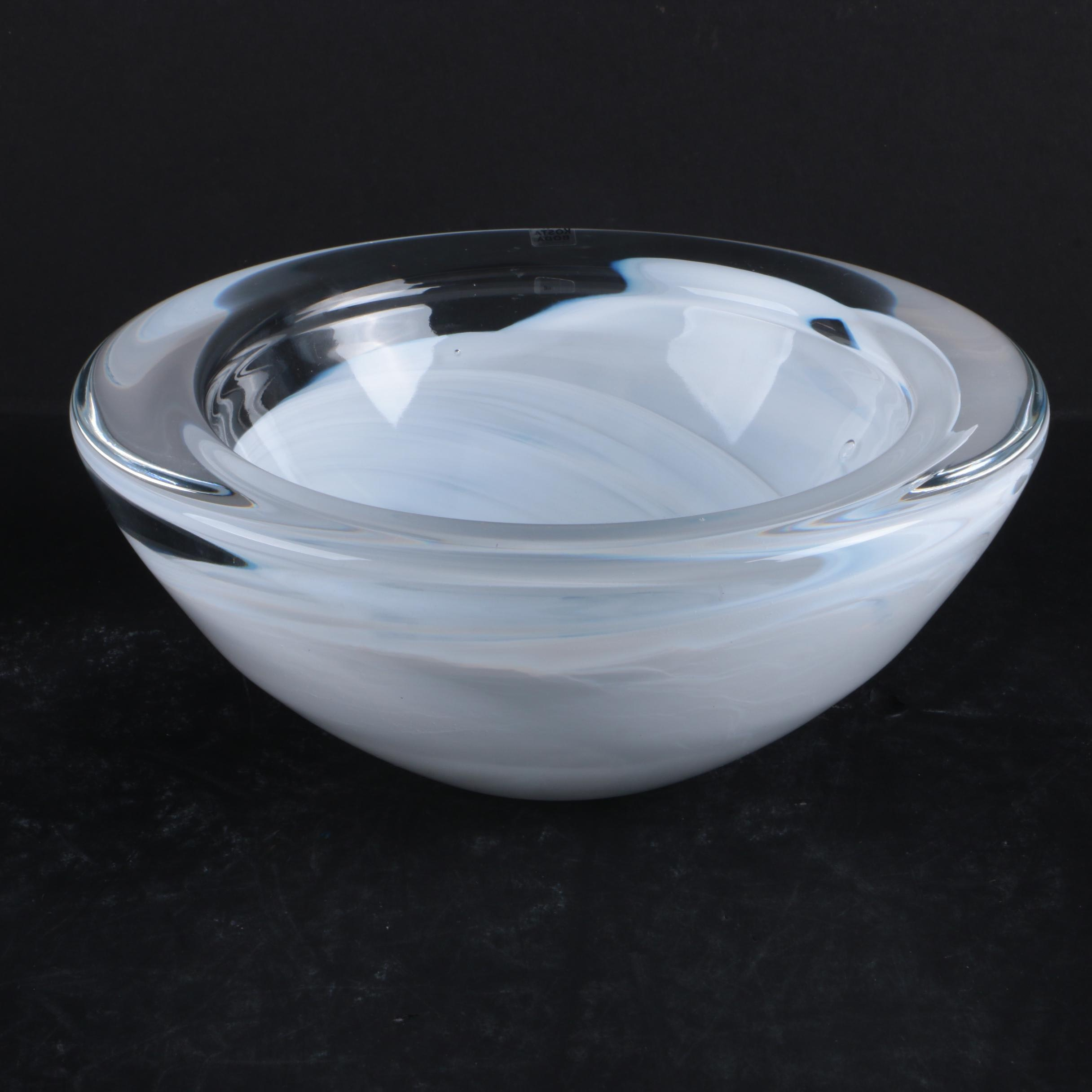 Kosta Boda White Art Glass Bowl