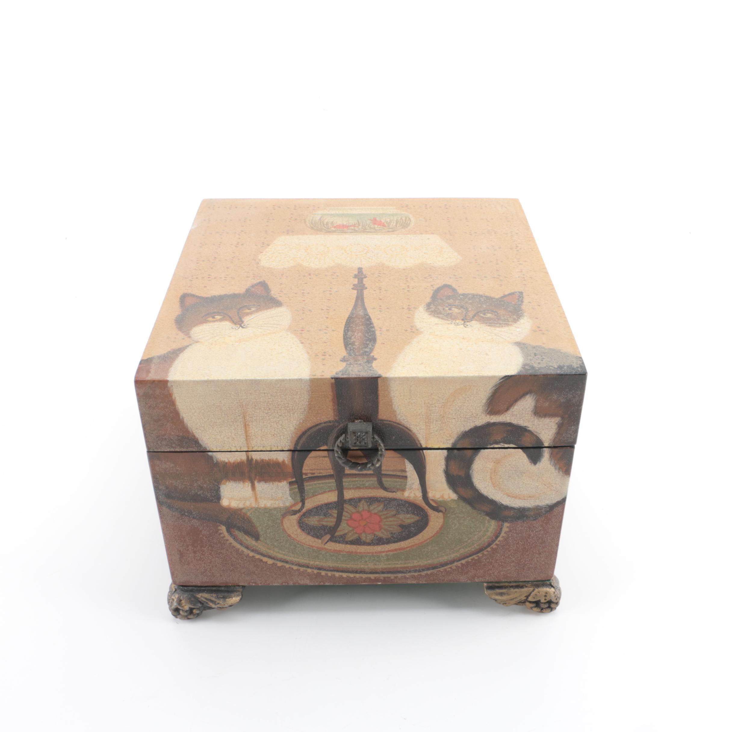 Feline Themed Wooden Box
