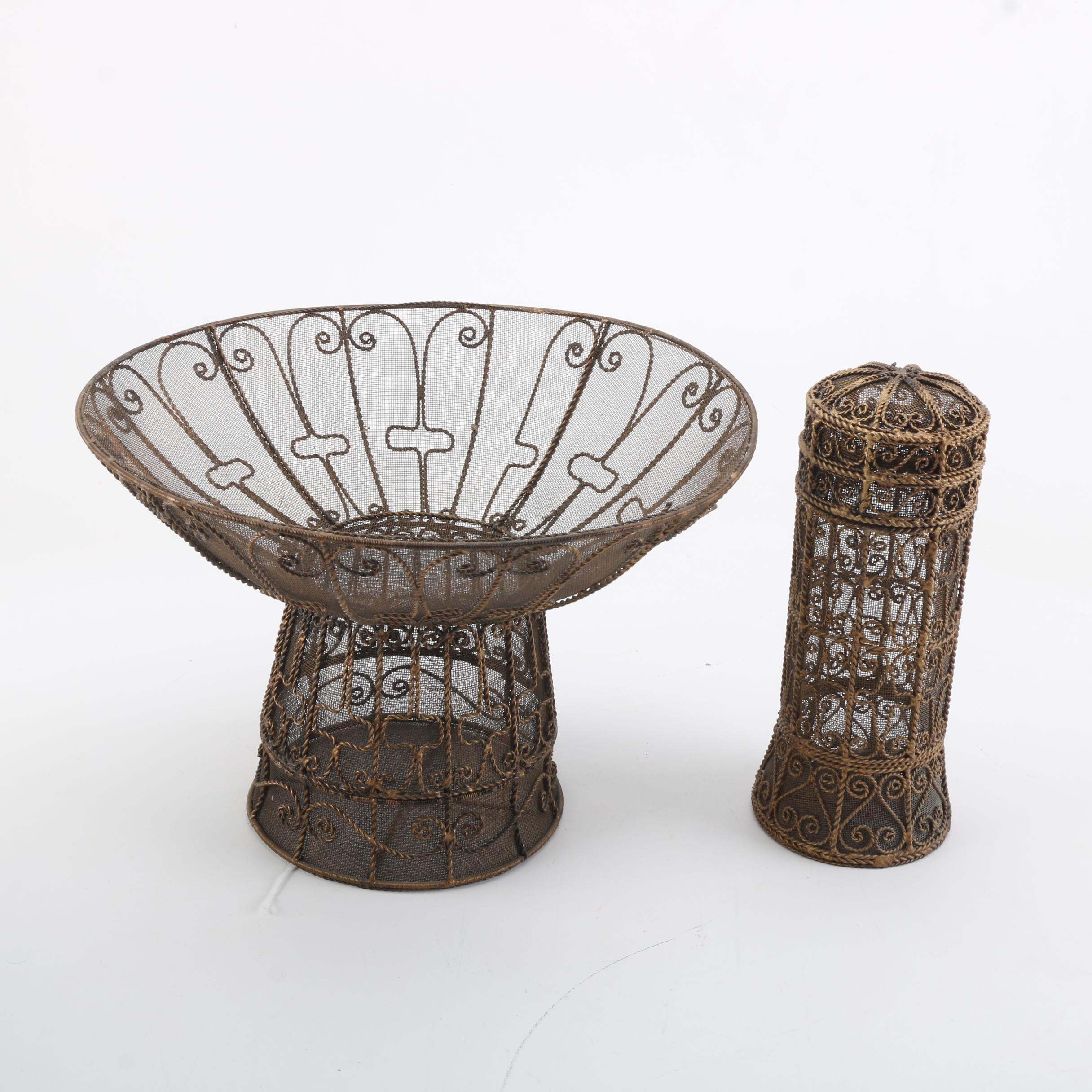 Coiled Wire Basket and Canister