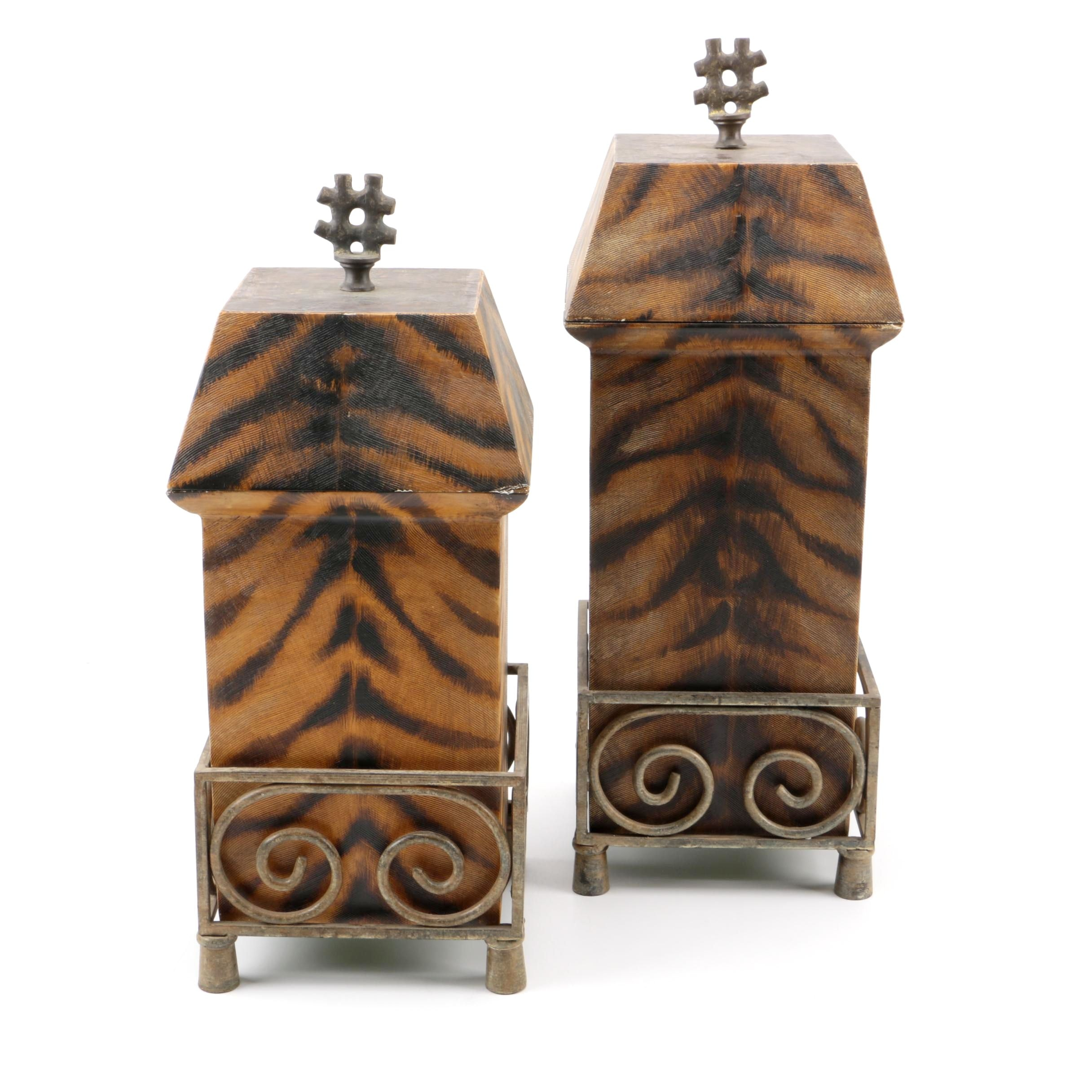 Tiger Striped Trinket Boxes on Stands by JTC